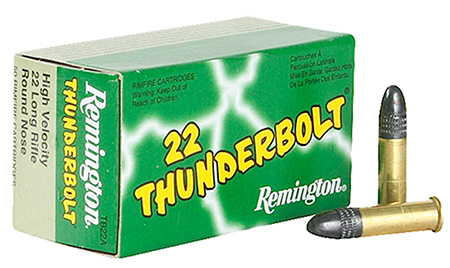 REM AMMO .22 LONG RIFLE 50-PK THUNDERBOLT 40GR. LEAD-RN - for sale