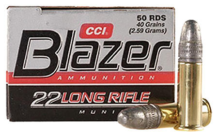 CCI AMMO BLAZER .22LR 1200FPS. 40GR. LEAD-RN 50-PACK - for sale