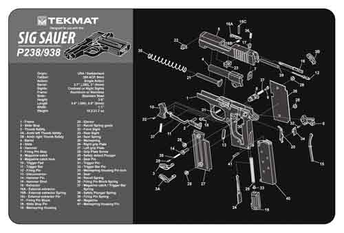 tekmat - Sig P238 - TEKMAT SIG SAUER P238 - 11X17IN for sale