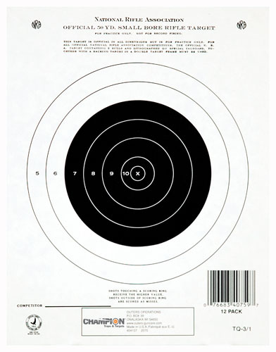 "CHAMPION TGT PAPER 7""X9"" 50YD. SMALL BORE RIFLE 12PK - for sale"