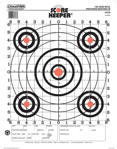 CHAMPION SCOREKEEPER, 100 YD SIGHT IN ORANGE/BLACK 12-PACK - for sale