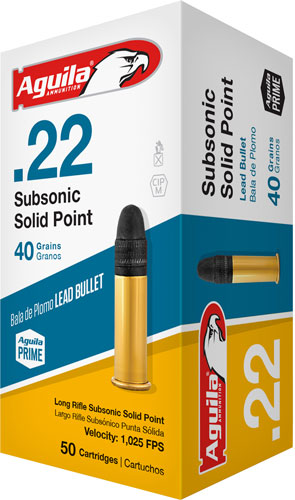 AGUILA AMMO .22LR SUBSONIC 1025FPS. 40GR. LEAD RN 50-PACK - for sale