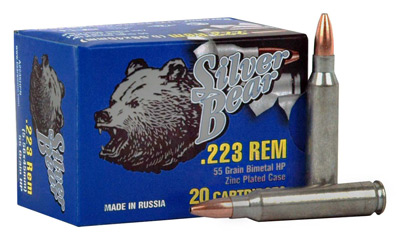 SILVER BEAR .223 REMINGTON 55GR. HP ZINC PLATED 20-PACK - for sale