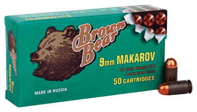 BROWN BEAR 9X18MM MAKAROV 94GR. FMJ-RN 50-PACK - for sale