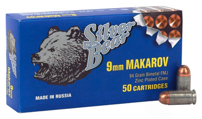 SILVER BEAR 9X18 MAKAROV 94GR. FMJ-RN ZINC PLATED CASE 50-PK - for sale