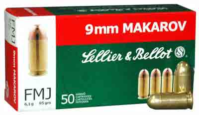 S&B AMMO 9X18MM MAKAROV 95GR. FMJ-RN 50-PACK - for sale