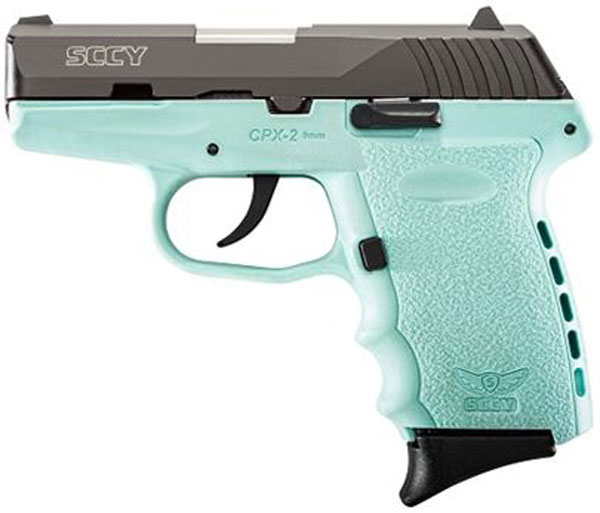 SCCY 9MM POLY AQUA/BLK DAO 2MAGS - for sale
