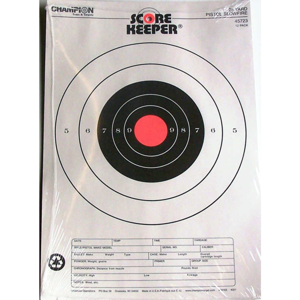 CHAMPION 25YD PSTL SLOWFIRE TRGT 12P - for sale