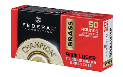 FED CHAMP 9MM 115GR FMJ BRS 50/1000 - for sale