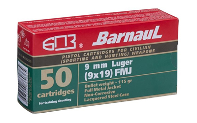 BARNAUL 9MM LUGER 115GR FMJ 50/500 - for sale