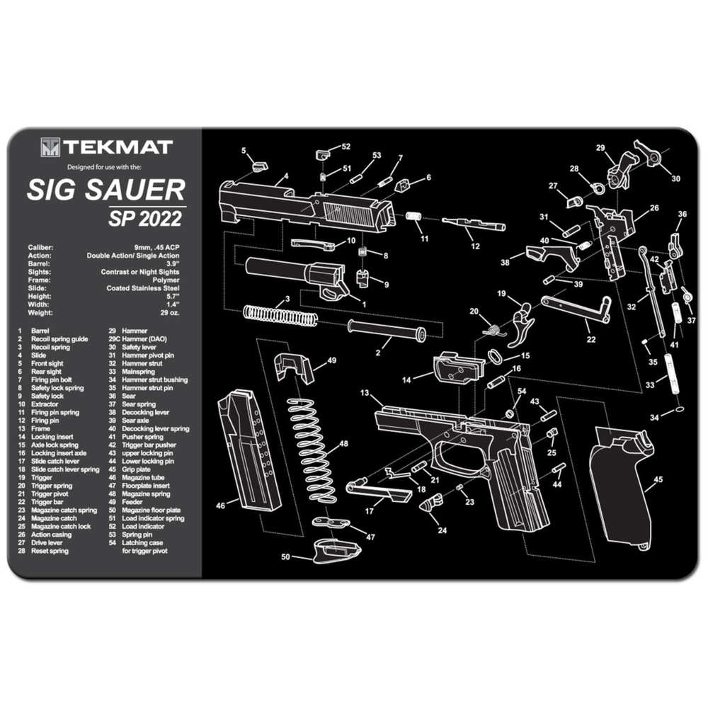 tekmat - Sig Sauer P2022 - TEKMAT SIG SAUER SP2022 - 11X17IN for sale